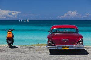 Cuba, Matanzas Province, Varadero, Varadero Beach with 1958 US-made Cheverlot.
