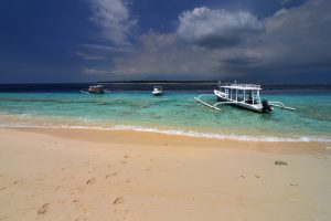 Indonesia, Lombok island, Outriogger on beach in Gili Meno